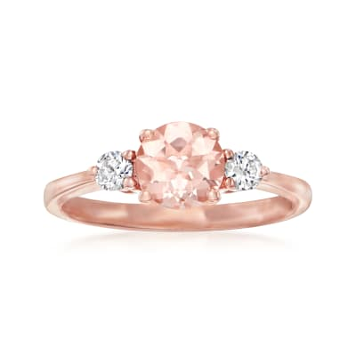 .80 Carat Morganite Ring with .20 ct. t.w. Diamond Ring in 14kt Rose Gold