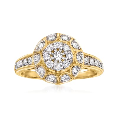 C. 1980 Vintage .55 ct. t.w. Diamond Cluster Ring in 14kt Yellow Gold
