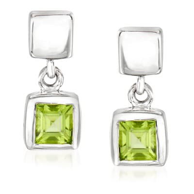 "Zina Sterling Silver ""Ice Cube"" .40 ct. t.w. Peridot Drop Earrings"