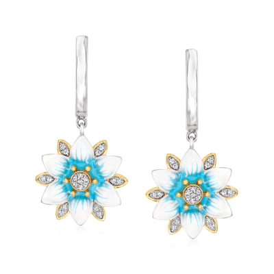 .10 ct. t.w. Diamond Flower Hoop Drop Earrings with Blue and White Enamel in Two-Tone Sterling