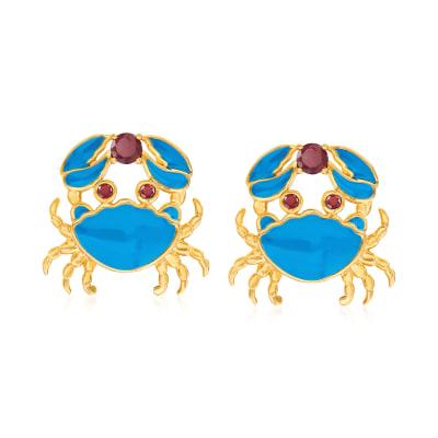 .70 ct. t.w. Garnet and Blue Enamel Crab Earrings