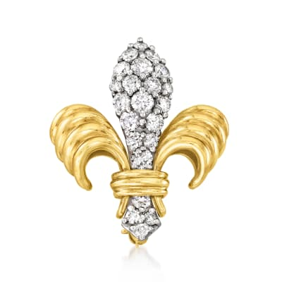 C. 1980 Vintage 1.35 ct. t.w. Diamond Fleur-De-Lis Pin in Platinum and 18kt Yellow Gold