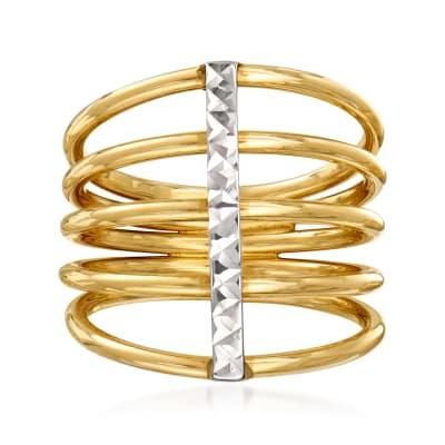Italian 14kt Two-Tone Gold Multi-Row Ring