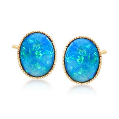 Blue Opal Doublet Stud Earrings in 14kt Yellow Gold
