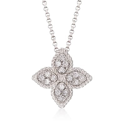 "Roberto Coin ""Princess Flower"" .17 ct. t.w. Diamond Medium Flower Pendant Necklace in 18kt White Gold"