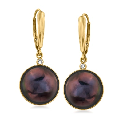 C. 1980 Vintage 12mm Black Cultured Mabe Pearl Drop Earrings with Diamond Accents in 14kt Yellow Gold