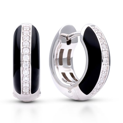 "Belle Etoile ""Tenuto"" Black Enamel and .30 ct. t.w. CZ Omega Earrings in Sterling Silver"