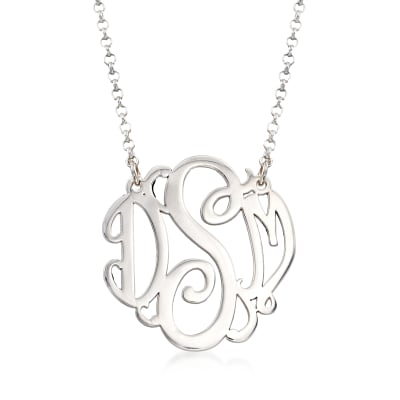 Sterling Silver Medium Script Monogram Necklace