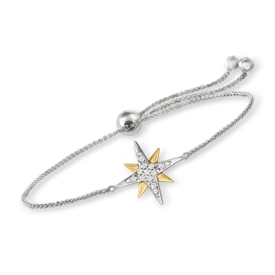 .10 ct. t.w. Diamond Star Bolo Bracelet in Sterling Silver and 14kt Yellow Gold