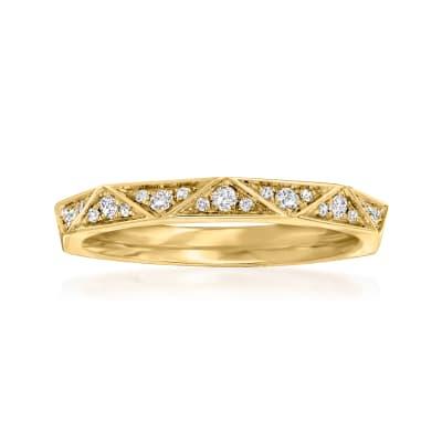 Henri Daussi .17 ct. t.w. Pave Diamond Geometric Wedding Ring in 18kt Yellow Gold