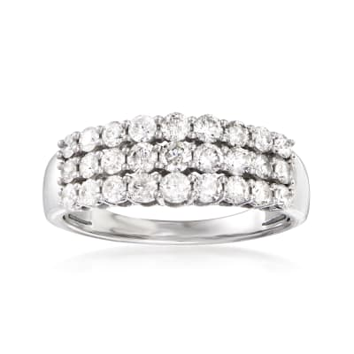 1.00 ct. t.w. Diamond Three-Row Ring in 14kt White Gold