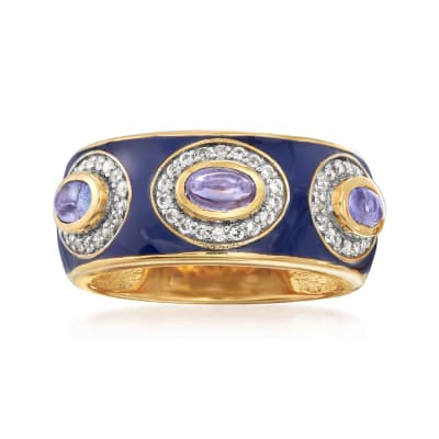 1.10 ct. t.w. Tanzanite and .60 ct. t.w. White Zircon Ring with Blue Enamel in 18kt Gold Over Sterling Silver