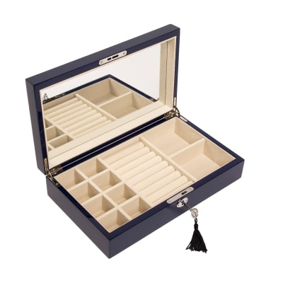 Brouk & Co. Navy Single Hinged Wooden Jewelry Box