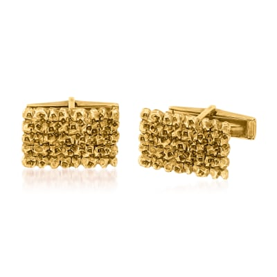 C. 1970 Vintage Men's 14kt Yellow Gold Nugget Cuff Links