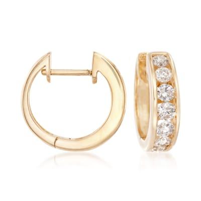 1.00 ct. t.w. Channel-Set Diamond Hoop Earrings in 14kt Yellow Gold