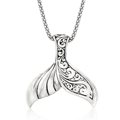 Sterling Silver Bali-Style Whale Tail Pendant Necklace