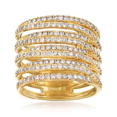 1.50 ct. t.w. Diamond Multi-Row Ring in 14kt Yellow Gold