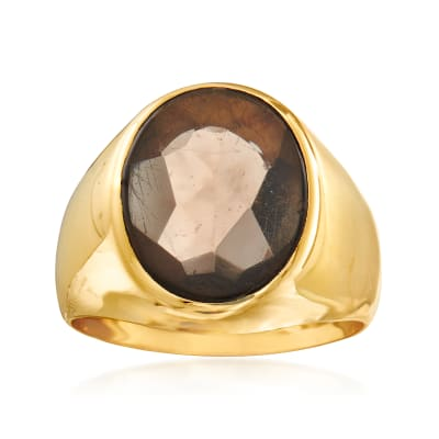 C. 1980 Vintage 5.25 Carat Smoky Quartz Ring in 18kt Yellow Gold