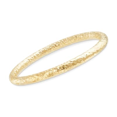 Italian 18kt Yellow Gold Over Sterling Silver Hammered Bangle Bracelet