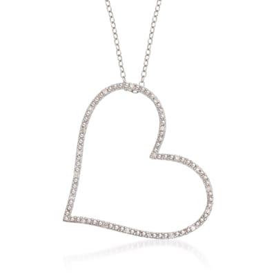 .10 ct. t.w. Diamond Heart Pendant Necklace in Sterling Silver