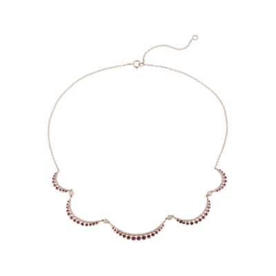 .70 ct. t.w. Ruby and .50 ct. t.w. Diamond Scalloped Necklace in 14kt Rose Gold