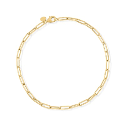 Italian 14kt Yellow Gold Paper Clip Link Anklet
