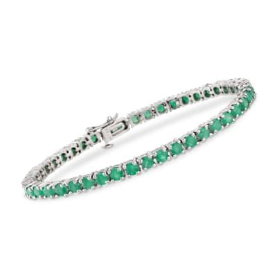 6.60 ct. t.w. Emerald Tennis Bracelet in Sterling Silver