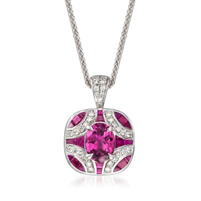 .90 ct. t.w. Pink Tourmaline and .80 ct. t.w. Ruby with .30 ct. t.w. Diamond Pendant Necklace in 14kt White Gold