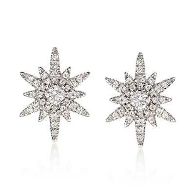 Gabriel Designs .39 ct. t.w. Diamond Starburst Earrings in 14kt White Gold
