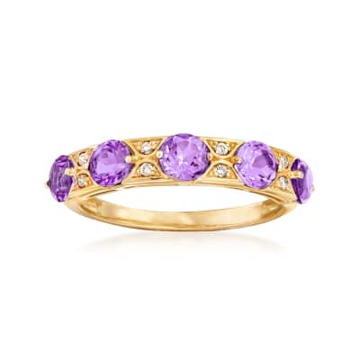 1.20 ct. t.w. Amethyst Ring in 14kt Yellow Gold