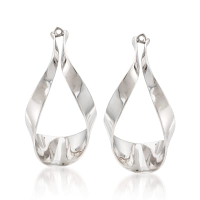 Sterling Silver Ribbon Drop Earring Jackets