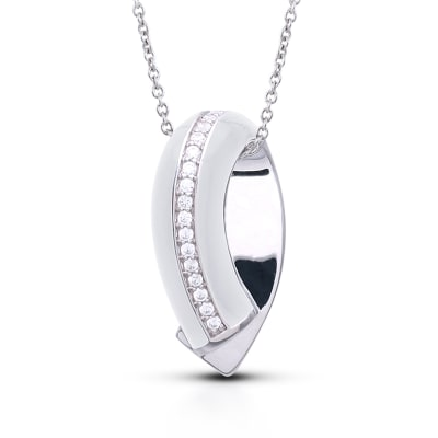 "Belle Etoile ""Tenuto"" White Enamel and .30 ct. t.w. CZ Pendant in Sterling Silver"