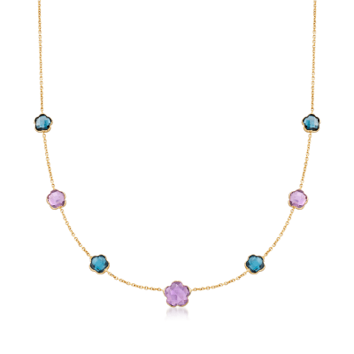 Italian 6.10 ct. t.w. Amethyst and London Blue Topaz Clover Station Necklace in 14kt Yellow Gold