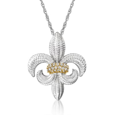 .10 ct. t.w. Diamond Fleur-De-Lis Pendant Necklace in Sterling Silver and 14kt Yellow Gold