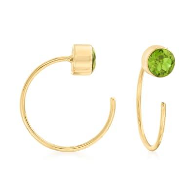 .50 ct. t.w. Peridot C-Hoop Earrings in 14kt Yellow Gold