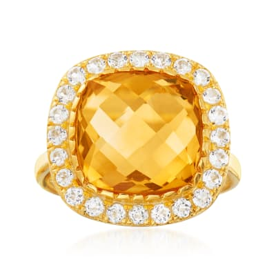 6.25 Carat Citrine and .90 ct. t.w. White Topaz Ring in 18kt Gold Over Sterling