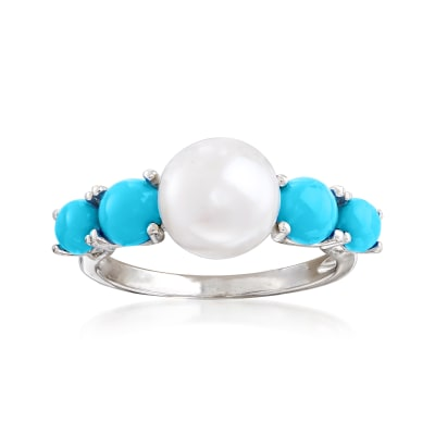 8.5-9mm Cultured Pearl and Turquoise Ring in Sterling Silver