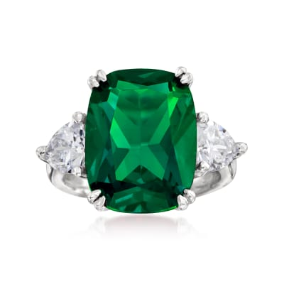 12.70 Carat Simulated Emerald and 1.70 ct. t.w. CZ Ring in Sterling Silver