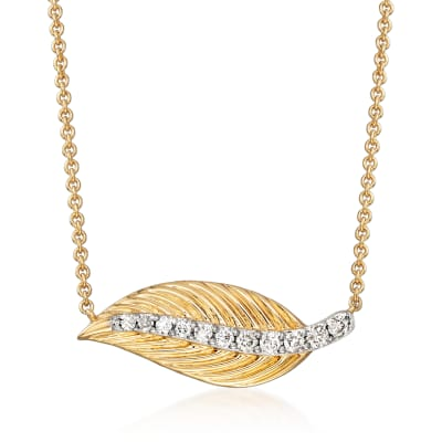 .16 ct. t.w. Diamond Leaf Necklace in 14kt Yellow Gold
