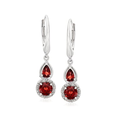 1.70 ct. t.w. Garnet and .13 ct. t.w. Diamond Drop Earrings in Sterling Silver