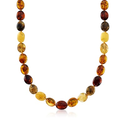 11-13mm Multicolored Amber Bead Necklace with Sterling Silver