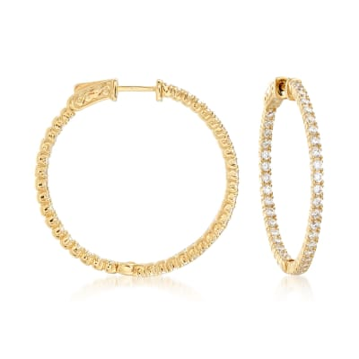 2.00 ct. t.w. CZ Inside-Outside Hoop Earrings in 18kt Gold Over Sterling