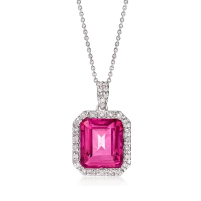 6.50 Carat Pink Topaz and .24 ct. t.w. Diamond Frame Pendant Necklace in Sterling Silver