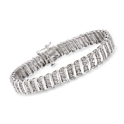 1.00 ct. t.w. Diamond Link Bracelet in Sterling Silver