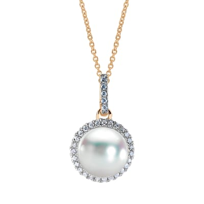 8-8.5mm Cultured Akoya Pearl and .16 ct. t.w. Diamond Pendant Necklace in 14kt Yellow Gold