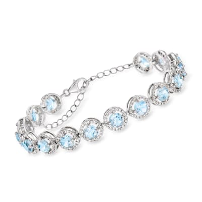 12.00 ct. t.w. Sky Blue Topaz and 2.60 ct. t.w. White Topaz Bracelet in Sterling Silver