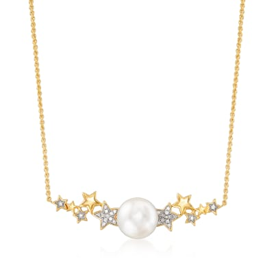 9.5-10mm Cultured Pearl and .10 ct. t.w. Diamond Star Necklace in 18kt Gold Over Sterling