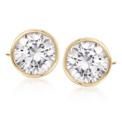 3.00 ct. t.w. Bezel-Set CZ Stud Earrings in 14kt Yellow Gold
