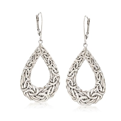 Sterling Silver Byzantine Open Teardrop Earrings