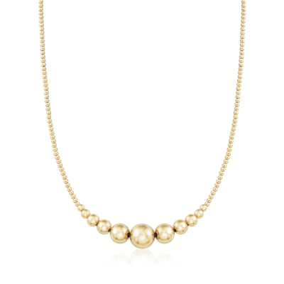 2-10mm 14kt Yellow Gold Graduated Bead Necklace